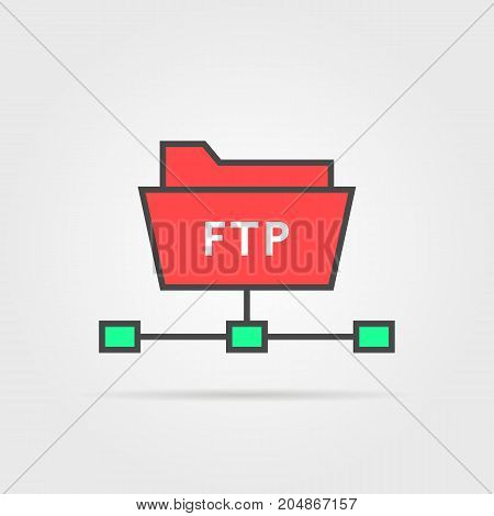 color ftp protocol simple icon. concept of software update, router, teamwork tool management, copy process, info. flat style trend modern logo design vector illustration isolated on white background