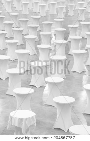 Many white round tables celebration concept banquet concept conference concept texture background blank