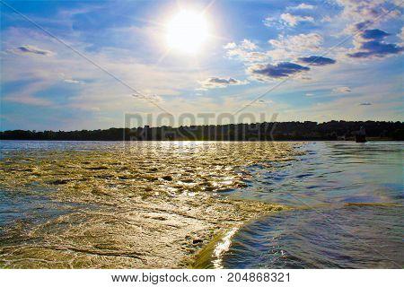 Mississippi River Granite City Illinois at sunset