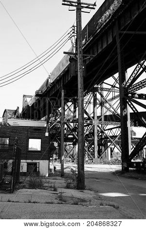 Old Train Bridge on the bank of the Mississippi River in St. Louis, MO