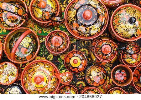 Russian wooden utensils. Khokhloma or Hohloma, traditional Russian handmade souvenir, top view