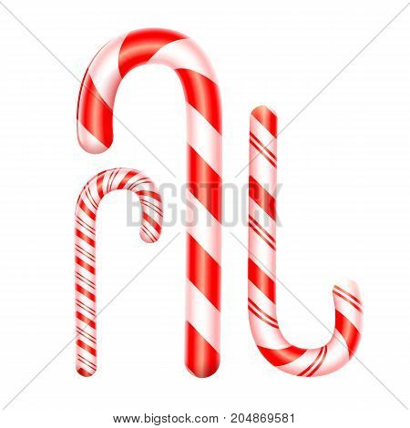3d candy cane set isolated on white background. Traditional Christmas candy. Glossy realistic candy canes. Xmas Decoration. Vector illustration