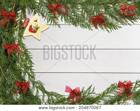 background: Christmas decorations on wooden white background