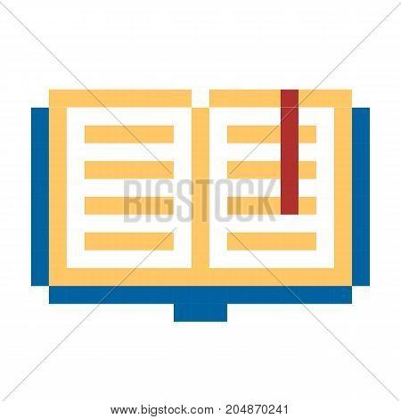 Pixel book pixel art cartoon retro game style set