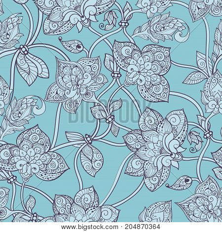 Seamless Pattern Beautiful Decorative Stylized Flowers