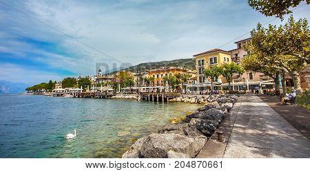 View of Torri Del Benaco on Lake Garda Veneto Italy