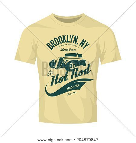 Vintage hot rod vector logo concept isolated on olive t-shirt mock up. Premium quality old sport car logotype emblem illustration. Brooklyn, New York street wear superior retro badge tee print design.