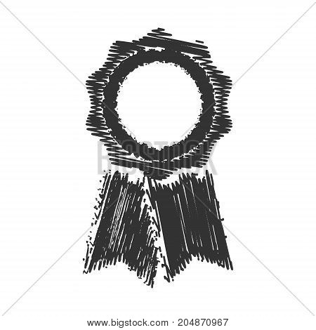 Distress award badge icon. Sertificate ui grunge symbol. Stamp with ribbons pictogram. Hand drawn by chalk pencil. EPS10 vector.