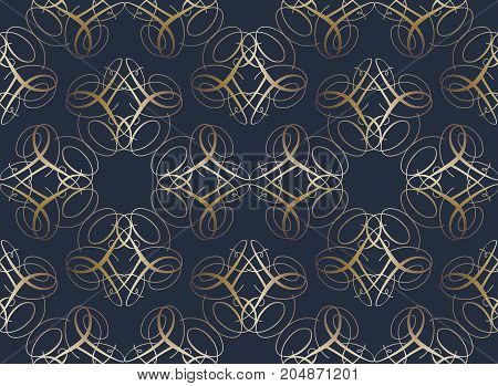 seamless symmetrical pattern in a Golden color from the figures, compiled from a variety of calligraphic lines. The pattern for the ornaments, albums, backgrounds.