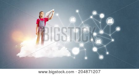 Cute smiling kid girl on cloud presenting social connection concept