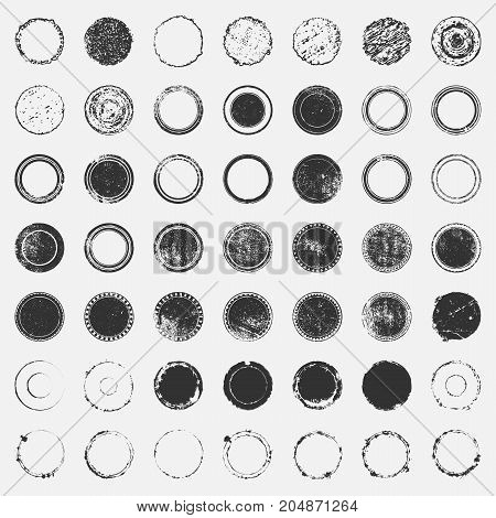 Distressed post Stamp texture set. Circle grunge scratched lable background. Aged bold thin round cover template. Used circular icon, badge, button backdrop. Elements aging your design. EPS10 vector.
