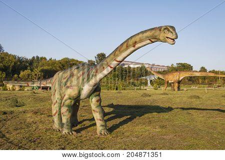 Minsk Belarus - September 17 2017: dinosaur in dinopark. Amusement park with dinosaurs.