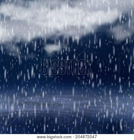 Background with rain and clouds, Rainy weather, Abstract vector Illustration