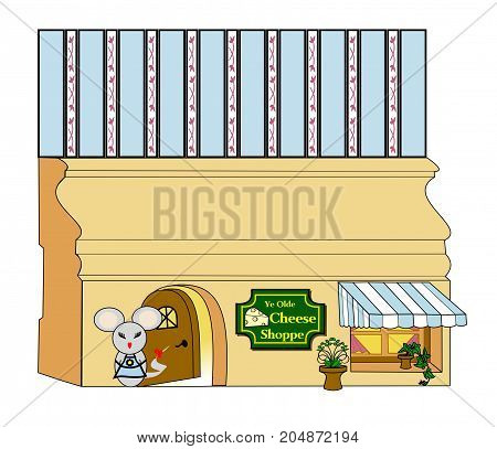 An illustration of a mouse standing in front of a mouse hole in a baseboard decorated as a cheese store.