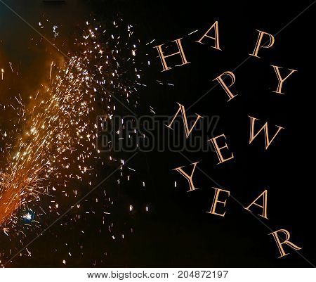 A photo of a fireworks display on a black background enhanced with the text Happy New Year