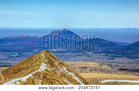Beautiful volcanic landscape with Puy-de-Dome located in the Central M<assif in France.