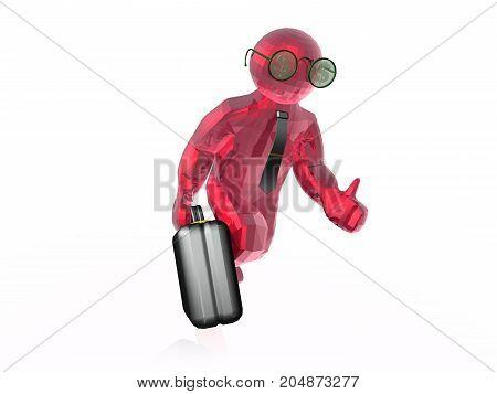 Red running man white background 3D illustration.