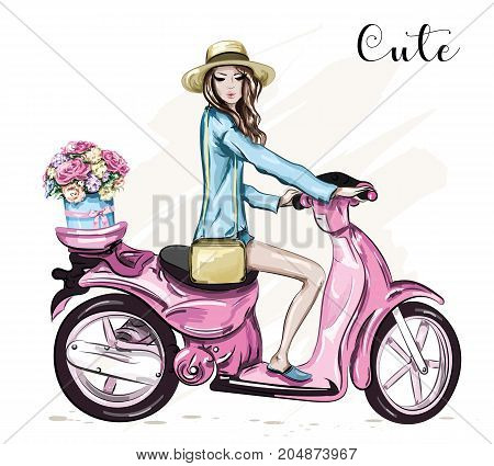Beautiful young girl in hat with cute pink scooter. Girl scooter with flower box. Sketch. Vector illustration.
