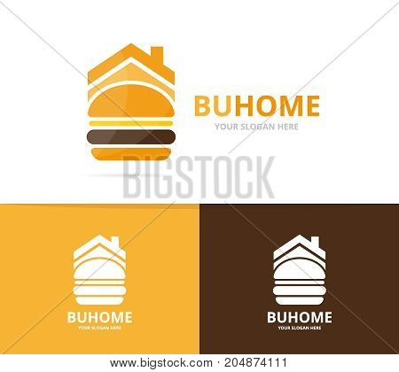 Vector burger and real estate logo combination. Hamburger and house symbol or icon. Unique fastfood and rent logotype design template.