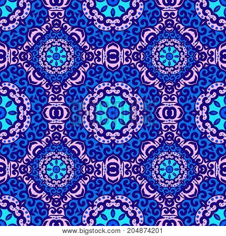 Vector Seamless Pattern With Bright Blue Ornament. Tile In Eastern Style. Ornamental Lace Tracery. O