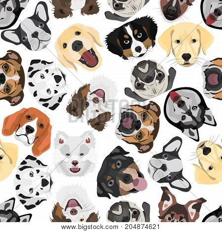 Illustration Seamless Pattern Dogs