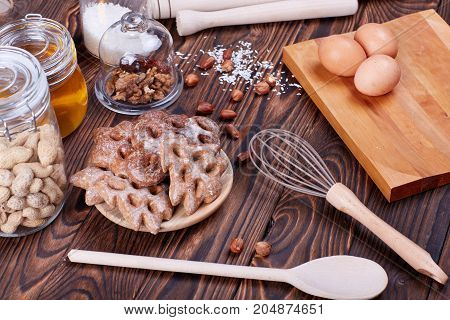 Baking ingredients for shortcrust pastry. Tasty and sweet pastries.