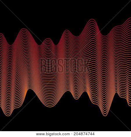 Smooth orange waves. Abstract vector lines. Blend effect. Colorful illustration