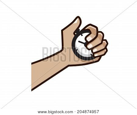 hands holds a timer with bold lines, illustration design, isolated on white background.