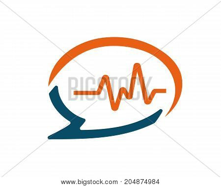 speach bubble with heart rates illustration, icon design, isolated on white background.