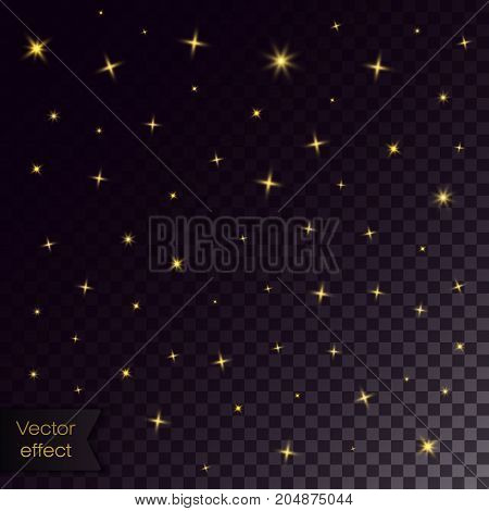 Gold stars and sparkles. Collection of golden stars on transparent background. Space background. Effect for party or festival with sparkling.