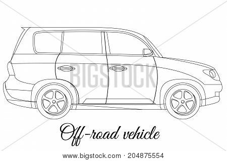 Off-road vehicle car body type outline vector illustration