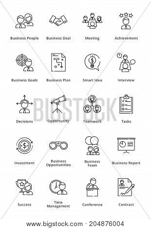 This set contains business icons that can be used for designing and developing websites, as well as printed materials and presentations.