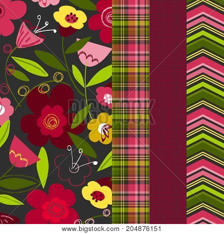 Floral pattern with coordinating plaid, gingham and chevron for digital paper, scrapbooking, cards, invitations, announcements, gift wrap, backgrounds, borders and more.
