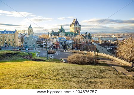 A Cityscape of Quebec City with Chateau Frontenac on Spring.