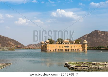 Horizontal picture of Jal Mahal located in the middle of the Man Sagar Lake in Jaipur city the capital of the state of Rajasthan India.