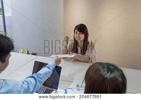Young candidate feels very happy after passing the interview
