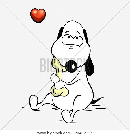 Cute dog hugs a bone
