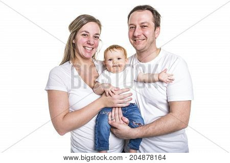 A Happy young family with baby in studio white background