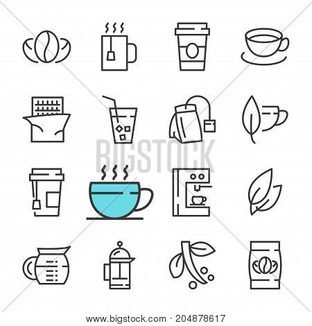 Vector black line Coffee and tea icons set. Includes such Icons as Coffee, Tea, Tea bag, Bean, Piece. Outline