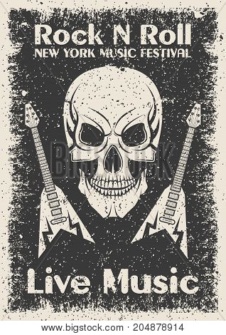 Vintage rock n roll poster. Skull and guitar typographic for print, t-shirt, tee design. Vector illustration