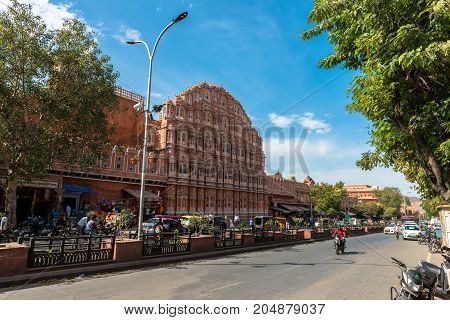 JAIPUR RAJASTHAN INDIA - MARCH 11 2016: Wide angle picture of Hawa Mahal in Jaipur known as pink city of Rajasthan in India.