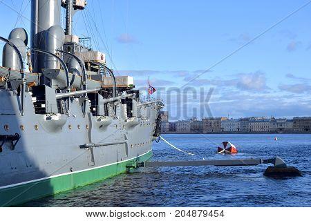 Aurora cruiser on Neva river in Saint Petersburg Russia.
