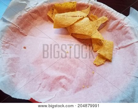 an almost completely empty basket of tortilla chips