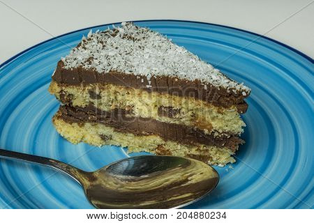 Coconut chocolate cake on blue dish with silver spoon