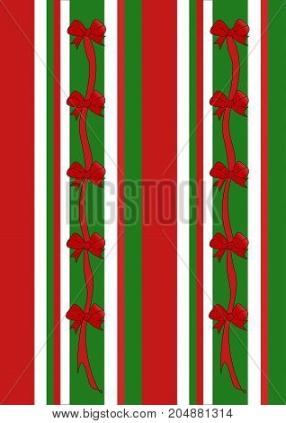 An illustration of stripes in the holiday colors of red green and white adorned with red ribbons and bows