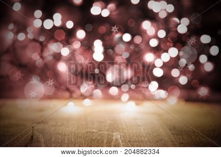 Purple Or Rose Lights Texture With Bokeh Effect. Party, Celebration Or Christmas Background WIth Wood.