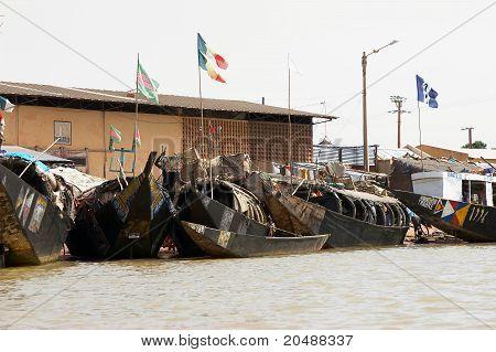 Boats in Mopti harbour, Mali, Africa