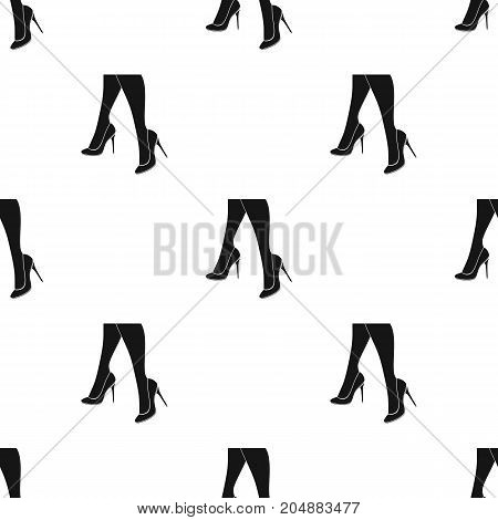 Female feet in heels. Women's shoes single icon in black style vector symbol stock illustration .