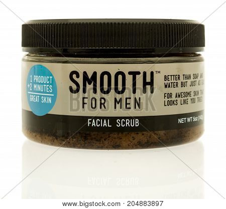 Winneconne WI - 19 September 2017: A tub of Smooth for Men facial scrub on an isolated background.