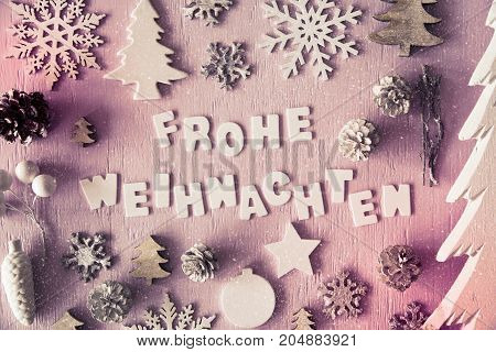 Letters Building German Word Frohe Weihnachten Means Merry Christmas. Many Christmas Decoration Like Tree, Star, Fir Cone And Snowflakes. Flat Lay With Vintage Style And Instagram Filter